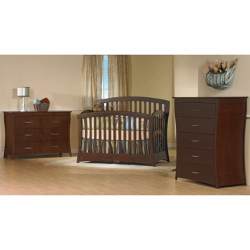 Pali Trieste 3 Piece Nursery Set in Vintage Cherry - Forever Crib, Double Dresser & 5 Drawer Dresser