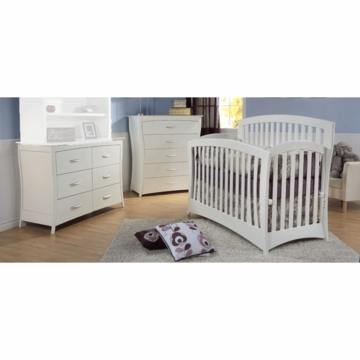 Pali Trieste 3 Piece Nursery Set in White - Forever Crib, Double Dresser & 5 Drawer Dresser