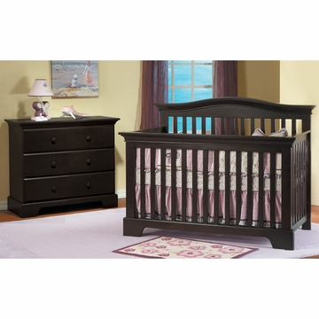 Pali Volterra 2 Piece Nursery Set in Mocacchino - Crib & 3 Drawer Dresser