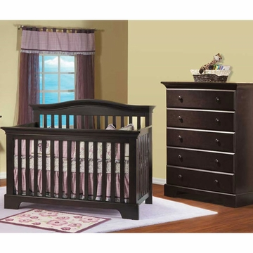 Pali Volterra 2 Piece Nursery Set in Mocacchino - Crib & 5 Drawer Dresser