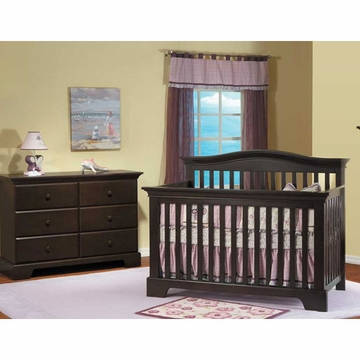 Pali Volterra 2 Piece Nursery Set in Mocacchino - Crib & Double Dresser