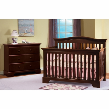 Pali Volterra 2 Piece Nursery Set in Vintage Cherry - Crib & 3 Drawer Dresser