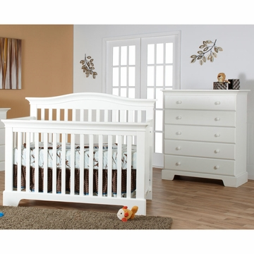Pali Volterra 2 Piece Nursery Set in White - Crib & 5 Drawer Dresser