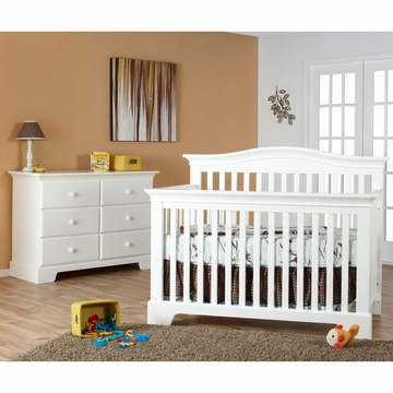 Pali Volterra 2 Piece Nursery Set in White - Crib & Double Dresser