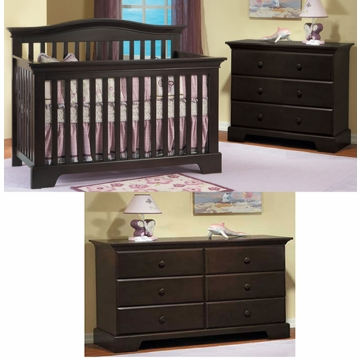 Pali Volterra 3 Piece Nursery Set in Mocacchino - Crib, Double Dresser & 3 Drawer Dresser