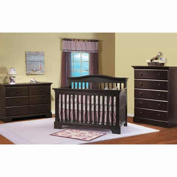 Pali Volterra 3 Piece Nursery Set in Mocacchino - Crib, Double Dresser & 5 Drawer Dresser