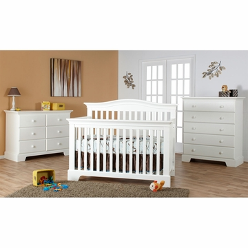 Pali Volterra 3 Piece Nursery Set in White - Crib, Double Dresser & 5 Drawer Dresser