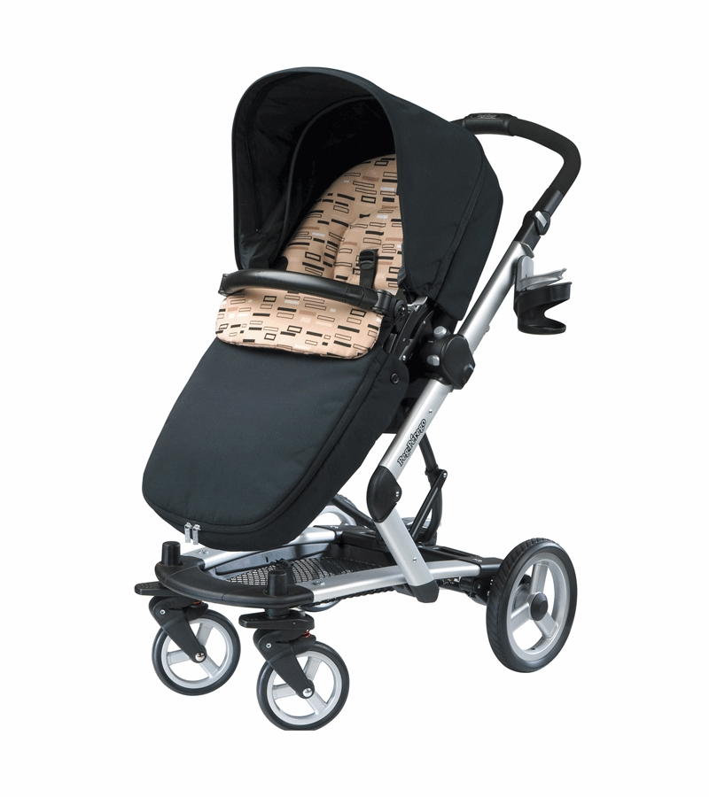 Peg Perego 2010 Skate Stroller With Bassinet In Black Step