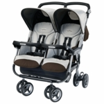 Peg Perego Aria Twin 60/40 Double Stroller in Java