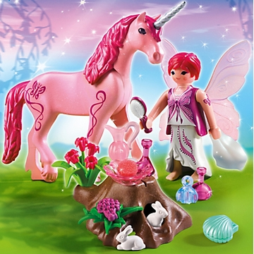 "Playmobil Care Fairy with Unicorn ""Rose Red"""