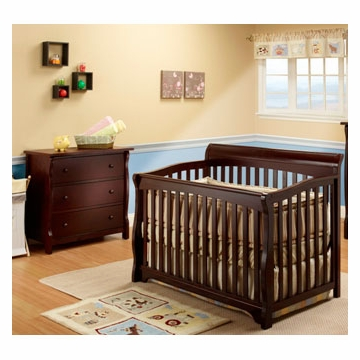 SB2 Florence 2 Piece Nursery Set in Espresso - Crib & Princeton 3 Drawer Dresser