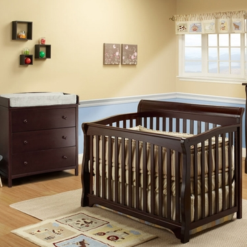SB2 Florence 2 Piece Nursery Set in Espresso - Crib & Simple 3 Drawer Dresser