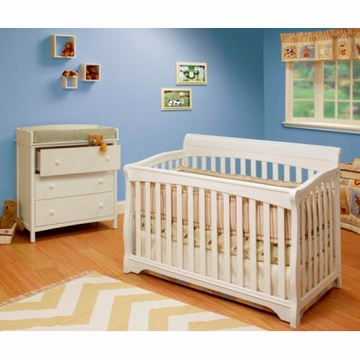 SB2 Florence 2 Piece Nursery Set in White - Crib & Simple 3 Drawer Dresser