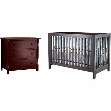 SB2 Jordan 2 Piece Nursery Set in Espresso - Crib & Princeton 3 Drawer Dresser