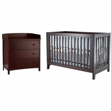 SB2 Jordan 2 Piece Nursery Set in Espresso - Crib & Simple 3 Drawer Dresser