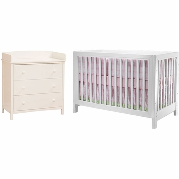 SB2 Jordan 2 Piece Nursery Set in White - Crib & Simple 3 Drawer Dresser