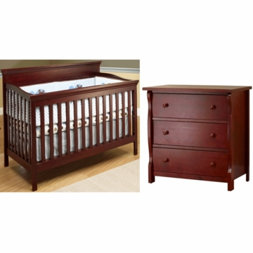 SB2 Katherine 2 Piece Nursery Set in Merlot - Crib & Princeton 3 Drawer Dresser