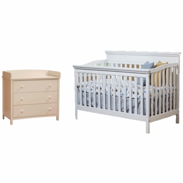 SB2 Katherine 2 Piece Nursery Set in White - Crib & Simple 3 Drawer Dresser