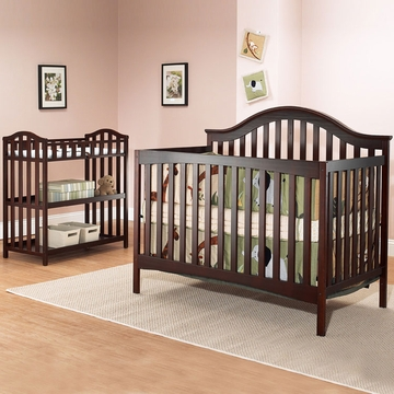 SB2 Lynn 2 Piece Nursery Set in Merlot - Crib & Dressing Table