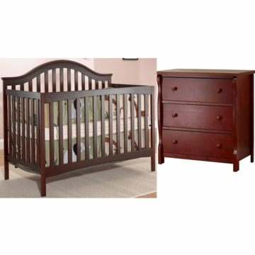 SB2 Lynn 2 Piece Nursery Set in Merlot - Crib & Princeton 3 Drawer Dresser