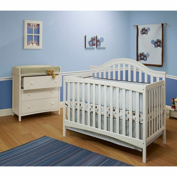 SB2 Lynn 2 Piece Nursery Set in White - Crib & Simple 3 Drawer Dresser