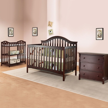 SB2 Lynn 3 Piece Nursery Set in Merlot - Crib, Princeton 3 Drawer Dresser & Dressing Table