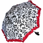 Shady Baby Stroller Parasol Red Ruffle Damask