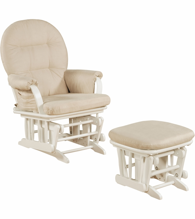 Shermag Glider And Ottoman In White 37GR103 G2 0175
