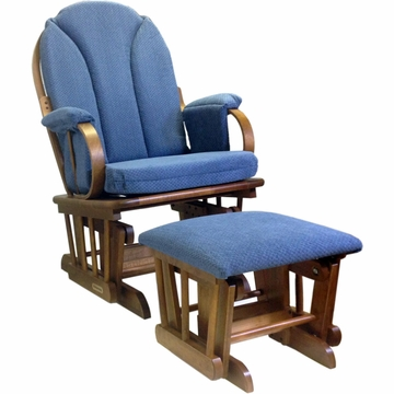 Shermag Glider Rocker and Ottoman - Corduroy Blue