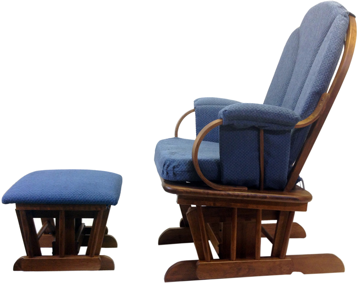 Glider Chair With Ottoman: Shermag Glider Rocker And Ottoman - Corduroy Blue