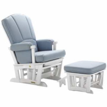Shermag Multi Lock Positioins Recliner Glider with Matching Ottoman with Nursing Stool in White Finish with Linnette Skye Fabric