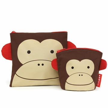Skip Hop Zoo Reusable Sandwich & Snack Bag Set - Monkey