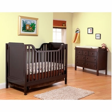 Sorelle Bedford 2 Piece Nursery Set in Espresso - Classic Crib & Double Dresser