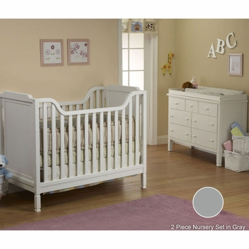 Sorelle Bedford 2 Piece Nursery Set in Gray - Classic Crib & Double Dresser