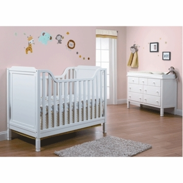 Sorelle Bedford 2 Piece Nursery Set in White- Classic Crib & Double Dresser