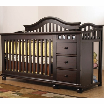 Sorelle Cape Cod Crib & Changer with Toddler Rail in Espresso