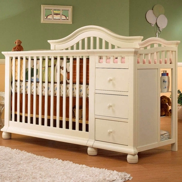 Sorelle Cape Cod Crib & Changer with Toddler Rail in French White