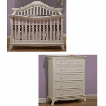 Sorelle Napa 2 Piece Nursery Set in French White - Crib & 5 Drawer Chest