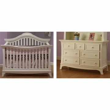 Sorelle Napa 2 Piece Nursery Set in French White - Crib & Double Dresser