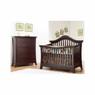 Sorelle Napa 2 Piece Nursery Set in Merlot - Crib & 5 Drawer Chest