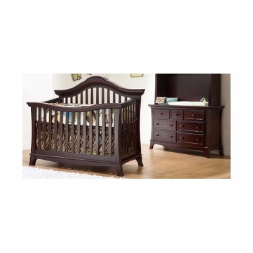 Sorelle Napa 2 Piece Nursery Set in Merlot - Crib & Double Dresser
