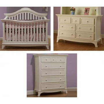 Sorelle Napa 3 Piece Nursery Set in French White - Crib, 5 Drawer Chest & Double Dresser