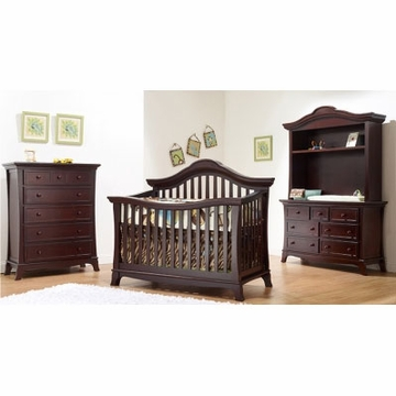 Sorelle Napa 3 Piece Nursery Set in Merlot - Crib, 5 Drawer Chest & Double Dresser