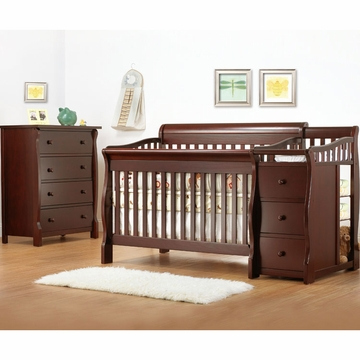 Sorelle Tuscany 2 Piece Nursery Set in Cherry - Crib & 4 Drawer Dresser