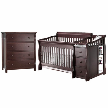 Sorelle Tuscany 2 Piece Nursery Set in Espresso - Crib & 4 Drawer Dresser