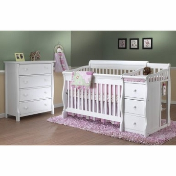 Sorelle Tuscany 2 Piece Nursery Set in White - Crib & 4 Drawer Dresser