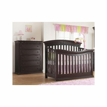 Sorelle Verona 2 Piece Crib Set in Espresso - Crib & 5 Drawer Dresser