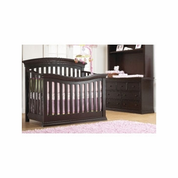 Sorelle Verona 2 Piece Crib Set in Espresso - Crib & Double Dresser