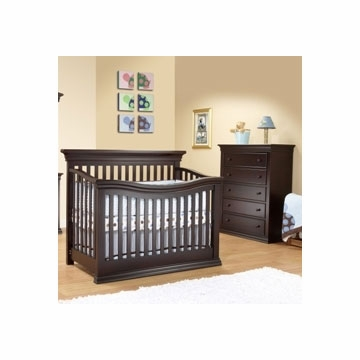 Sorelle Verona 2 Piece Crib Set in Espresso - Flat Top Crib & 5 Drawer Dresser