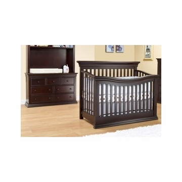 Sorelle Verona 2 Piece Crib Set in Espresso - Flat Top Crib & Double Dresser